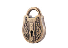 Vintage Padlock Isolated On Wh...