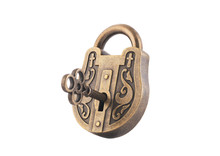 Vintage Padlock And Key Isolated On White Background With Clipping Path
