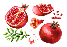 Ffresh Ripe Whole And Cut Pomegranate With Seeds, Flower And Leaves Set. Watercolor Hand Drawn Illustration, Isolated On White Background