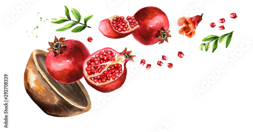 Bowl with Flying fresh ripe whole and cut pomegranate with seeds, flower and leaves. Watercolor hand drawn illustration, isolated on white background