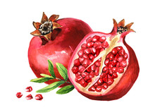Pomegranate Fruit Whole And Half And Green Leaves. Watercolor Hand Drawn Illustration Isolated On White Background