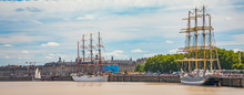 """Sedov And Kruzenshtern Russian Four-masted Barques Sail Training Ships Moored To The Quays Of The Garonne River During The """"Bordeaux Fete Le Fleuve"""" Celebration"""
