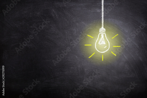 Fotomural Business Idea Concept : White light bulb lighting grow around on chalkboard