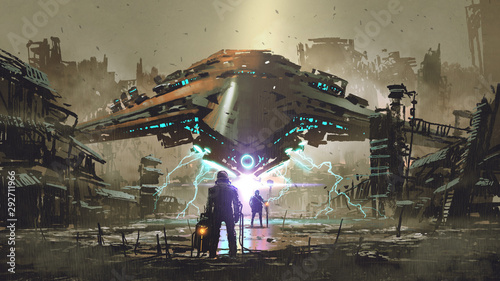Deurstickers Grandfailure the encounter between two futuristic humans with the spaceship in the background against an abandoned earth, digital art style, illustration painting