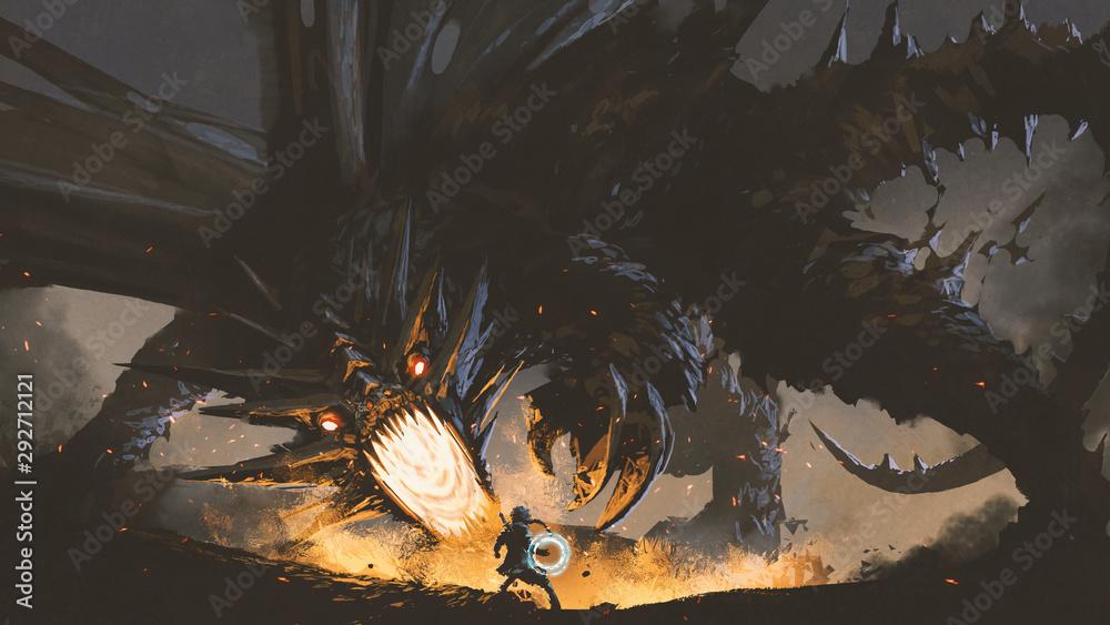 Fototapeta fantasy scene showing the girl fighting the fire dragon, digital art style, illustration painting