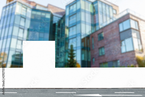 Fotografía  Blank construction fence mockup, hoarding panel with copy space for branding or