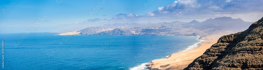 Fototapety, obrazy: Panoramic view of the Fuerteventura coastline. Taken from the hills of Jandia
