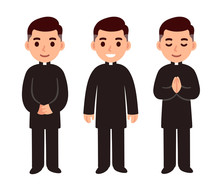 Cartoon Catholic Priest Set