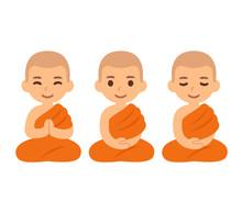 Cute Cartoon Buddhist Monks