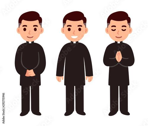 Fotografia Cartoon catholic priest set