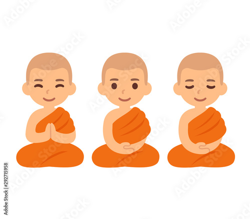 Cute cartoon Buddhist monks Fotobehang