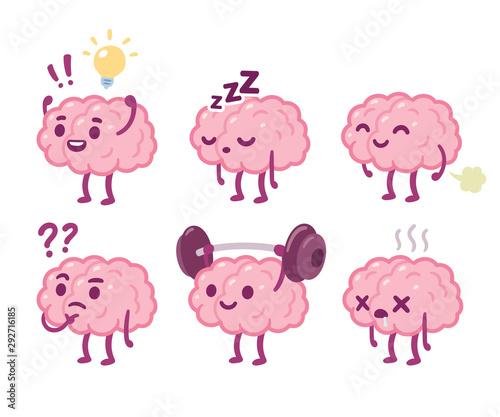 Fotografija Cartoon brain character set