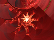 Red Glowing Spiral Fractal Background Image, Illustration - Vortex Repeating Spiral Pattern, Symmetrical Repeating Geometric Patterns. Abstract Background