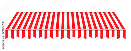 Striped red awning isolated on white background, realistic vector mockup Fototapeta