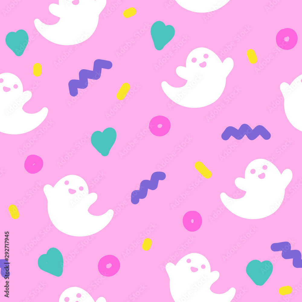 Fototapety, obrazy: Cute ghosts halloween 90s style seamless pattern