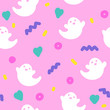 Cute ghosts halloween 90s style seamless pattern