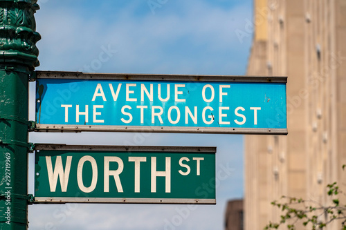 Tela avenue of the strongest sign in new york city usa