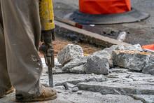 Jackhammer Road Working Detail In New York