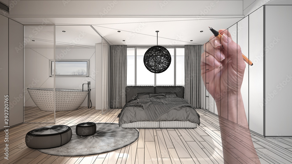 Fototapeta Architect interior designer concept: hand drawing a design interior project while the space becomes real, modern white and wooden bedroom with bathtub, double bed, bathtub and carpet