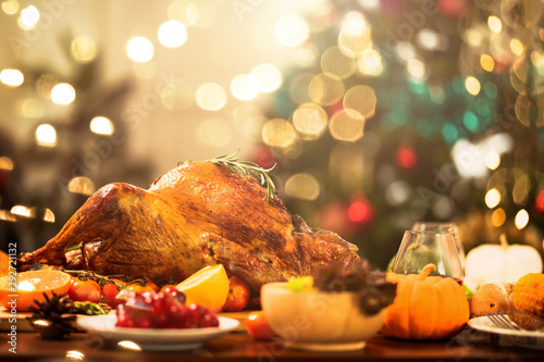 Fotografie, Obraz  Homemade Roasted Thanksgiving Day festive tradition ideas concept Delicious Turk