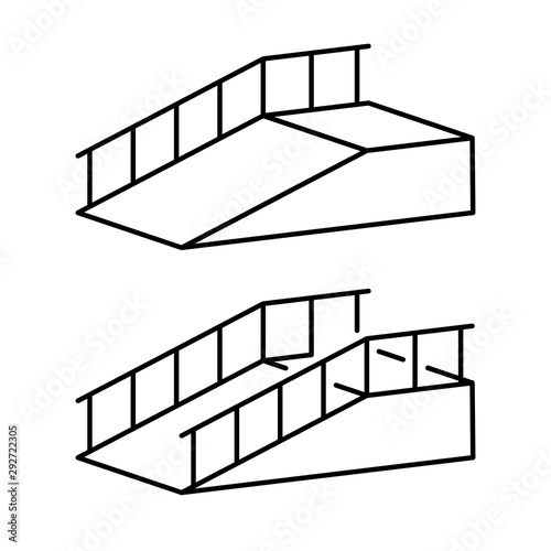 Photographie Ramp for disabled simple black outline illustration