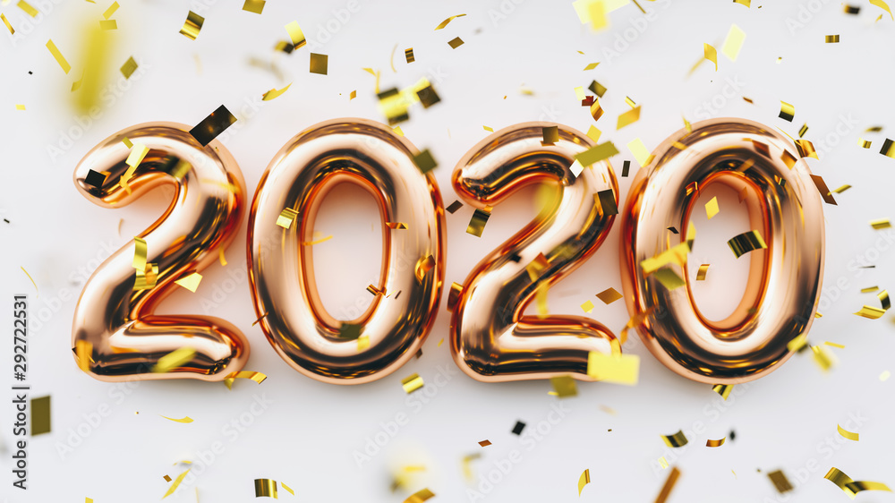Fototapety, obrazy: Happy New 2020 Year. Holiday copper metallic numbers 2020 and confetti on white background