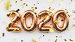 canvas print picture - Happy New 2020 Year. Holiday copper metallic numbers 2020 and confetti on white background