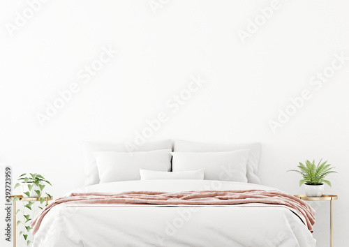 obraz lub plakat Bedroom interior wall mockup with unmade bed, pink plaid and green plants on bedside tables on empty white wall background. 3D rendering, illustration.