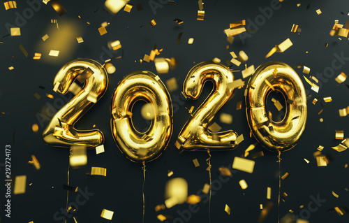 New year 2020 celebration. Gold foil balloons numeral 2020 and confetti on black background