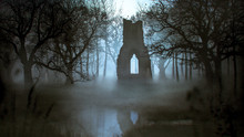 Ghost Haunting A Ruins Of A Cathedral In A Misty Forest Near A Lake - Photomanipulation