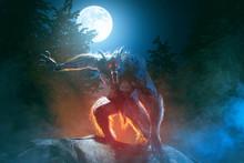Scary Werewolf In Misty Moonli...