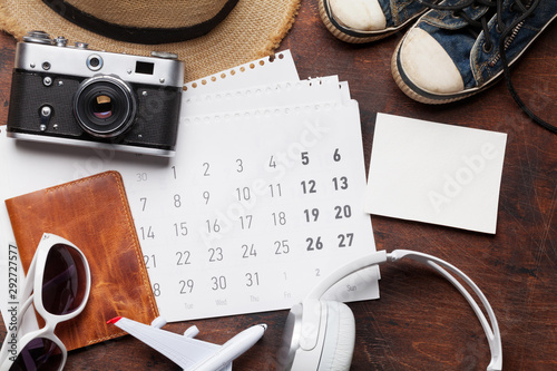 Poster Individuel Travel vacation accessories and calendar