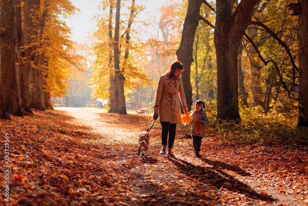 Fototapety, obrazy: Happy young grandmother with granddaughter and dog.