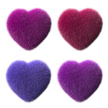Four Multi-colored Plush Heart...