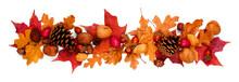 Autumn Border Of Colorful Fall...