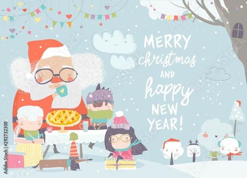 Santa Claus drinking tea with happy children