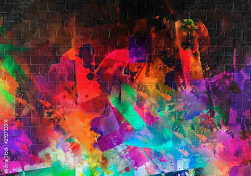 abstract multicolored splashes with geometrical figures and pattern, digital illustration