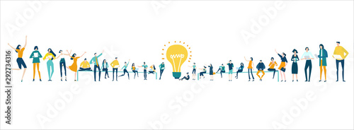 Fototapeta Lots of people around the big light bulb. Research, internet, big data idea, Availability of knowledge, Developing, taking a risk, support and solving the problem business concept illustration. obraz