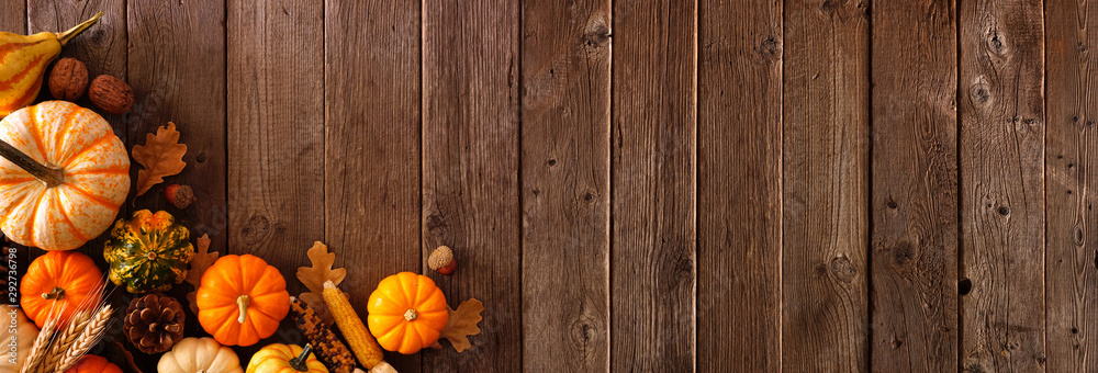 Fototapety, obrazy: Autumn corner border banner of pumpkins, gourds and fall decor on a rustic wood background with copy space
