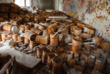 Old And Damaged Wine And Beer Barrels
