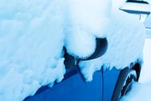 Car Under Snow In Winter.