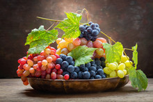 Mix Of Fresh Ripe Grapes With ...