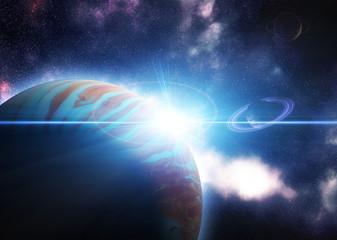 Alien 3d Planet in Space