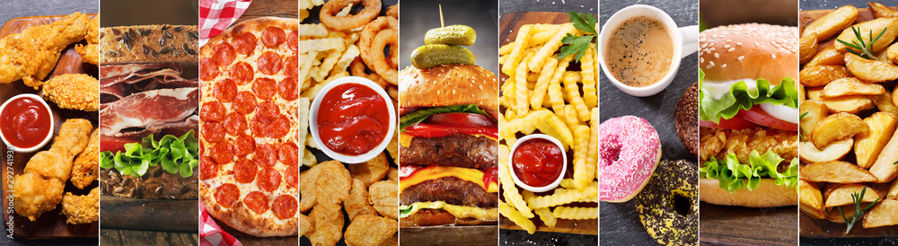 Fototapety, obrazy: collage of various fast food meals and drinks