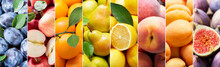 Food Collage Of Fresh Fruits As Background, Top View