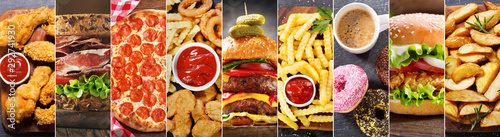 Foto op Canvas Eten collage of various fast food meals and drinks