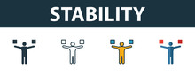 Stability Icon Set. Premium Symbol In Different Styles From Productivity Icons Collection. Creative Stability Icon Filled, Outline, Colored And Flat Symbols