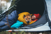 Girl Hug Resting Dog Together In Forest Campsite,  Red Shiba Inu Traveler Sleeping In Camp Tent , Hiker Woman Leisure With Puppy Dog Relax Nature Vacation, Friendship Love Concept