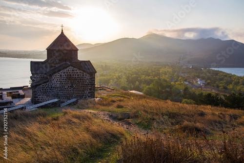 Obraz na plátně  Views to Sevanavank monastery, the Lake Sevan and hills around it in Armenia