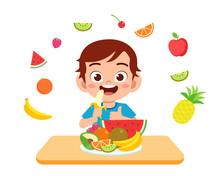 Cute Happy Kid Eat Salad Veget...